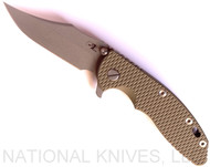 "Rick Hinderer Knives XM-18 Bowie Folding Knife, Working Finish 3.5"" Plain Edge 20CV Blade, Working Finish Lock Side, OD Green G-10 Handle - Tri-Way Pivot"