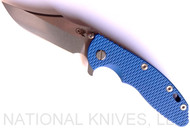 "Rick Hinderer Knives XM-18 Bowie Folding Knife, Stonewash 3.5"" Plain Edge 20CV Blade, Stonewash Blue Lock Side, Blue G-10 Handle - Tri-Way Pivot"