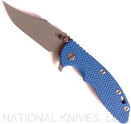 "Rick Hinderer Knives XM-18 Bowie Folding Knife, Working Finish 3.5"" Plain Edge 20CV Blade, Battle Blue Lock Side, Blue G-10 Handle - Tri-Way Pivot"
