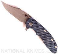 "Rick Hinderer Knives XM-18 Bowie Folding Knife, Working Finish 3.5"" Plain Edge 20CV Blade, Battle Blue Lock Side, Blue - Black G-10 Handle - Tri-Way Pivot"