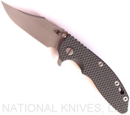 "Rick Hinderer Knives XM-18 Bowie Folding Knife, Working Finish 3.5"" Plain Edge 20CV Blade, Battle Bronze Lock Side, Dark Green - Black G-10 Handle - Tri-Way Pivot"