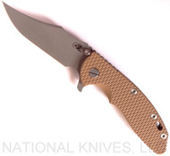 "Rick Hinderer Knives XM-18 Bowie Folding Knife, Working Finish 3.5"" Plain Edge 20CV Blade, Battle Bronze Lock Side, Coyote Tan G-10 Handle - Tri-Way Pivot"