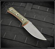 "RMJ Tactical Utsidihi Fixed Blade Knife, 3.5"" Nitro-V Plain Edge Blade, Blaze Olive G-10"