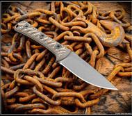 "RMJ Tactical Utsidihi Fixed Blade Knife Tungsten 3.5"" Nitro-V Blade Hyena Brown"