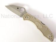 "Spyderco Kahr Arms Delica C11KAPKH Folding Knife, 2.5"" Plain Edge VG-10 Blade, Khaki FRN Handle"