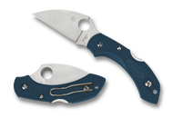Spyderco Dragonfly 2 Wharncliffe C28FP2WK390 Folding Knife, Plain Edge K390 Blade, Blue FRN Handle