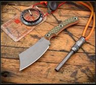 "RMJ Tactical Jackdaw Fixed Blade Knife, 3.25"" Nitro-V Plain Edge Blade, Blaze Olive G-10"