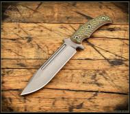 "RMJ Tactical Combat Africa Fixed Blade Knife, 7.09"" Plain Edge 80CRV2 Blade, Blaze Olive G-10, Kydex Sheath"