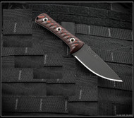"""RMJ Tactical Utsidihi Fixed Blade Knife, Graphite Black 3.5"""" Nitro-V Plain Edge Blade, Johnny Red G-10"""