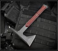 "RMJ Tactical Ragnarok 14 Tomahawk, Textured Black 3.375"" Forward Edge 80CRV2 Steel, Black Widow Handle, Sheath"