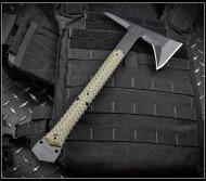"RMJ Tactical Ragnarok 14 Tomahawk, Textured Black 3.375"" Forward Edge 80CRV2 Steel, Dirty Olive Handle, Sheath"