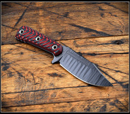 RMJ Tactical UCAP Fixed Blade Knife, Black Textured Plain Edge Nitro-V Blade, Black Widow G-10, Kydex Sheath