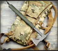 "RMJ Tactical Shrike Tomahawk, 2.75"" Forward Edge 80CRV2, OD Green Handle, Sheath"