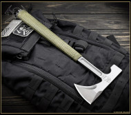 "RMJ Tactical L13 Loggerhead Tomahawk, 2.75"" Forward Edge 80CRV2, OD Green Handle, Sheath"