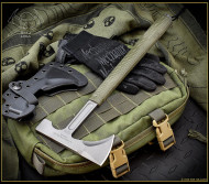"RMJ Tactical Loggerhead Tomahawk, 2.75"" Forward Edge 80CRV2, OD Green Handle, Sheath"