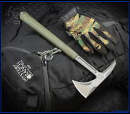 "RMJ Tactical S13 Shrike Tomahawk, 2.75"" Forward Edge 80CRV2, OD Green Handle, Sheath"