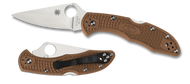 "Spyderco Delica 4 C11FPBN Folding Knife, 2.875"" Plain Edge Blade, Brown FRN Handle"