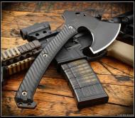 RMJ Tactical Weezerker Camp Axe, Black 80CRV2 Steel, Black G-10 Handle, Sheath