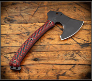 RMJ Tactical Weezerker Camp Axe, Black 80CRV2 Steel, Black Widow G-10 Handle, Sheath