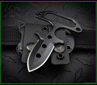 "RMJ Tactical Dragonfly Knife 2.1"" Black Double PlainEdge Nitro-V Blade Black G10"