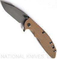 "Rick Hinderer Knives XM-18 SKINNY Harpoon Spanto Folding Knife, Working Finish 3.5"" Plain Edge 20CV Blade, Working Finish Lock Side, Coyote Brown G-10 Handle - Tri-Way Pivot"