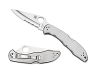 """Spyderco Delica 4 C11PS Folding Knife, 2.875"""" Partially Serrated Edge Blade, Stainless Steel Handle"""