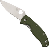 "Spyderco Tenacious C122GPSGR Folding Knife, Satin 3.375"" Partially Serrated Blade, Green G-10 Handle"