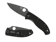"Spyderco Tenacious C122GBBKP Folding Knife, Black 3.375"" Plain Edge Blade, Black G-10 Handle"