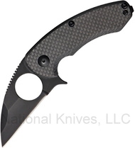 "Brous Blades Silent Soldier BLK-SSF Folding Knife, Black 2.75"" Plain Edge Blade, Carbon Fiber Handle"