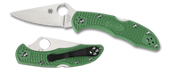 "Spyderco Delica 4 C11FPGR Folding Knife, 2.875"" Plain Edge Blade, Green FRN Handle"