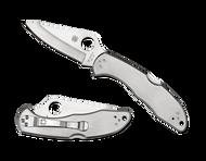 "Spyderco Delica 4 C11P Folding Knife, 2.875"" Plain Edge Blade, Stainless Steel Handle"