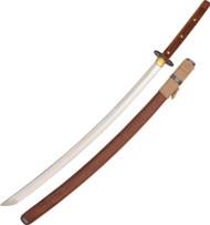 Condor Tool & Knife Kondoru Katana CTK1015-28.75HC, 1075 Plain Edge Blade, Wood Handle, Sheath - Bulk Packed