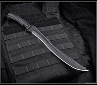 """Strict limit of one per customer, address, etc.  RMJ Tactical 3V Syndicate Drake Fixed Blade Knife Textured Blackout 11.25"""" Plain"""
