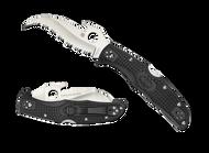 "Spyderco Matriarch 2 C12SBK2W Emerson Wave Folding Knife, Satin 3.437"" Serrated Edge Blade, Black FRN Handle"