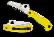 "Spyderco Saver Salt C118SYL Folding Knife, 3.093"" Serrated Edge Blade, Yellow FRN Handle"