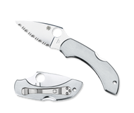 "Spyderco Dragonfly C28S Folding Pocket Knife, 2.312"" Serrated Blade, Stainless Steel Handle"