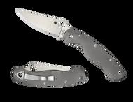 "Spyderco Military C36TIFP Folding Knife, 4"" Plain Edge  Blade, Fluted Titanium Handle"