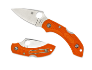 "Spyderco Dragonfly 2 C28POR2 Folding Knife, 2.312"" Plain Edge Blade, Orange FRN Handle"