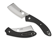 "Spyderco Roc C177GP Folding Pocket Knife, 3.062"" Plain Edge Blade, Black G-10 Handle"