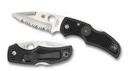 "Spyderco Native C41PSBK Folding Knife, Satin 3-1/8"" Partially Serrated Edge Blade, Black FRN Handle"