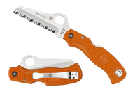 "Spyderco Rescue 79MM C45SOR Folding Knife, 3.093"" Serrated Blade, Orange FRN Handle"