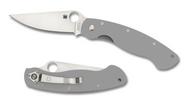 "Spyderco Military C36GPGY Sprint Run Folding Knife, 4"" Plain Edge Cru-Wear Blade, Gray G-10 Handle"