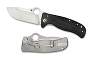 "Spyderco Lionspy C157GTIP Folding Knife, 3.562"" Plain Edge Elmax Blade, Black G-10 and Titanium Handle"