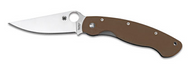 "Spyderco Military C36GPBNXHP Sprint Run Folding Knife, 4"" Plain Edge CTS-XHP Blade, Brown G-10 Handle"