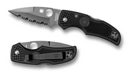 "Spyderco Native C41PSBBK Folding Knife, Black 3-1/8"" Partially Serrated Edge Blade, Black FRN Handle"