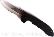 """Emerson Knives CQC-8 SFS Folding Knife, Satin 3.9"""" Partially Serrated 154CM Blade, Black G-10 Handle, Emerson """"Wave"""" Opener"""