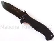 "Emerson Knives CQC-15 BT Folding Knife, Black 3.9"" Plain Edge 154CM Blade, Black G-10 Handle, Emerson ""Wave"" Opener"
