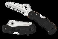 """Spyderco Rescue 79MM C45SBK Folding Knife, 3.093"""" Serrated Blade, Black FRN Handle"""