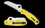 "Spyderco Atlantic Salt C89SYL Folding Knife, 3.687"" Serrated Edge Blade, Yellow FRN Handle"