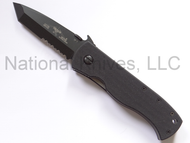"Emerson Knives CQC-7BW BTS Tanto Folding Knife, Black 3.3"" Partially Serrated 154CM Blade, Black G-10 Handle, Emerson ""Wave"" Opener"